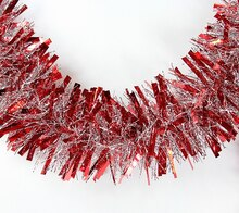 12' Soft and Sassy Red and Silver Wide Cut Christmas Tinsel Garland - Unlit