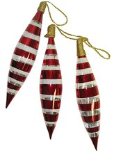 """3ct 8"""" Red Painted Glass Finial Christmas Ornaments"""