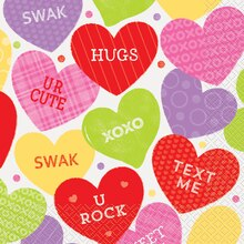 Candy Valentine Luncheon Napkins, 16ct