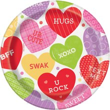 "7"" Candy Valentine Party Plates, 8ct"