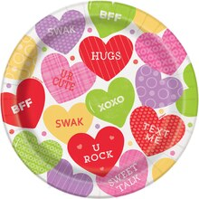 "9"" Candy Valentine Party Plates, 8ct"