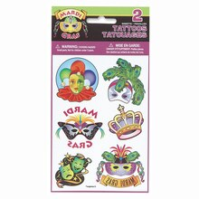 Mardi Gras Tattoo Sheets, 2ct