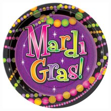 "7"" Mardi Gras Beads Party Plates, 8ct"