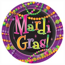 "9"" Mardi Gras Beads Party Plates, 8ct"