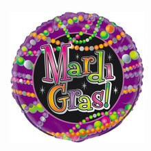 Foil Mardi Gras Beads Balloon, 18""