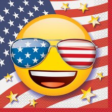 Patriotic Emoji Luncheon Napkins, 16ct