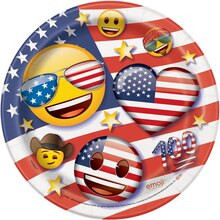 "7"" Patriotic Emoji Party Plates, 8ct"