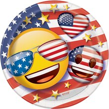 "9"" Patriotic Emoji Party Plates, 8ct"