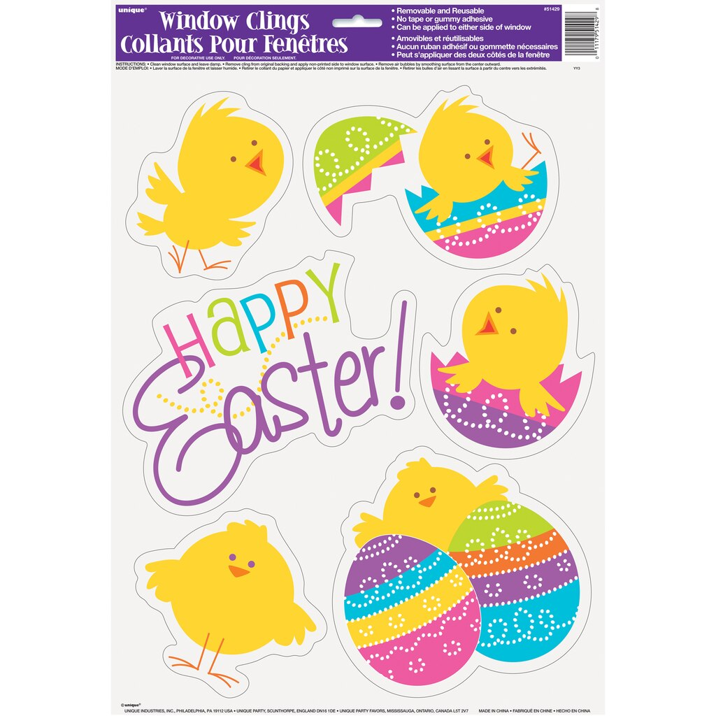 Spring Chick Easter Static Window Clings Easter Party