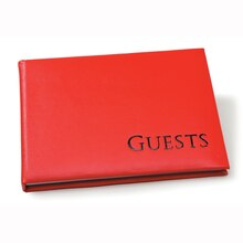 Bright Red Sign-In Guest Book with Black Embossing