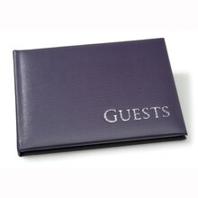 Dark Purple Sign-In Guest Book with Silver Embossing