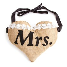 "Victoria Lynn Burlap Heart-Shape Chair Sign ""Mrs."" for Bride"