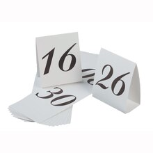 Victoria Lynn Table Number Cardboard Tents, Numbers 16-30