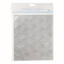 Victoria Lynn Silver Foil Double Heart Design Seals, 50pcs.