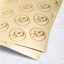 Victoria Lynn Gold Foil Double Heart Design Seals, 50 Pieces