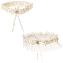 Victoria Lynn Cream-Colored Sheer & Satin Garter Set