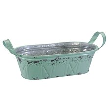 Small Aqua Oval Bucket Container By Ashland