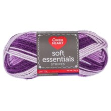 Red Heart Soft Essentials Yarn- Purple Stripe