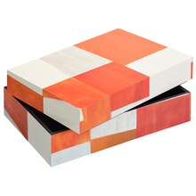 Small Orange & White Rectangular Wooden Box By Ashland