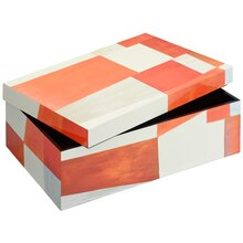 Large Orange & White Rectangular Wooden Box By Ashland