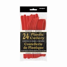 Assorted Plastic Cutlery Set for 8, Red Packaged