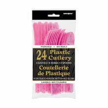 Assorted Plastic Cutlery Set for 8, Hot Pink Packaged