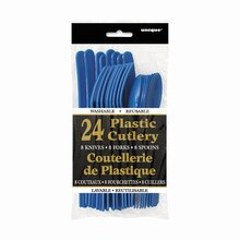 Assorted Plastic Cutlery Set for 8, Royal Blue Packaged