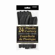 Assorted Plastic Cutlery Set for 8, Black Packaged
