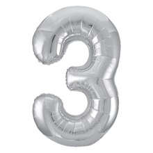 "34"" Foil Silver 3 Number Balloon"