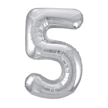 "34"" Foil Silver 5 Number Balloon"