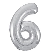 "34"" Foil Silver 6 Number Balloon"