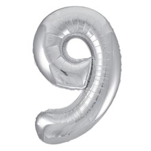 "34"" Foil Silver 9 Number Balloon"