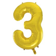 "34"" Foil Gold 3 Number Balloon"