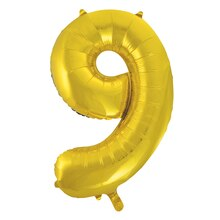 "34"" Foil Gold 9 Number Balloon"