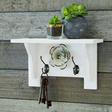 Galvanized Flower Painted Shelf, medium
