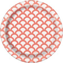 "7"" Coral Scallop Print Party Plates, 8ct"