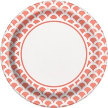 """9"""" Coral Scallop Print Party Plates, 8ct"""