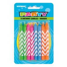 "3"" Chevron Neon Birthday Candles, 8ct"