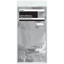 "Plastic Foil Silver Tablecloth, 108"" x 54"" Package"