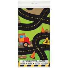 "Plastic Construction Truck Party Tablecloth, 84"" x 54"""