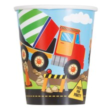 9oz Construction Truck Party Paper Cups, 8ct