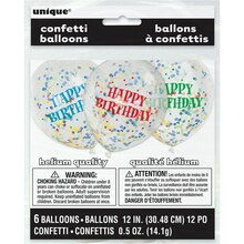 "12"" Latex Happy Birthday Confetti Balloons, 6ct Package"