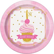 "7"" Pink and Gold Girls 1st Birthday Party Plates, 8ct"
