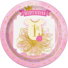"9"" Pink and Gold Girls 1st Birthday Party Plates, 8ct"