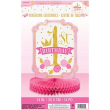 Pink and Gold Girls 1st Birthday Centerpiece Decoration, 14""