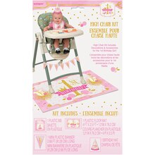 Pink and Gold Girls 1st Birthday High Chair Decorating Kit