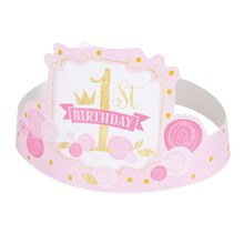 Pink and Gold Girls 1st Birthday Party Hats, 6ct