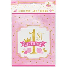 Pink and Gold Girls 1st Birthday Goodie Bags, 8ct Package
