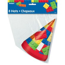 Building Blocks Birthday Party Hats, 8ct