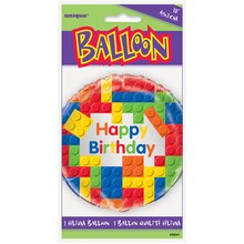 "Foil Building Blocks Birthday Balloon, 18"" Packaged"
